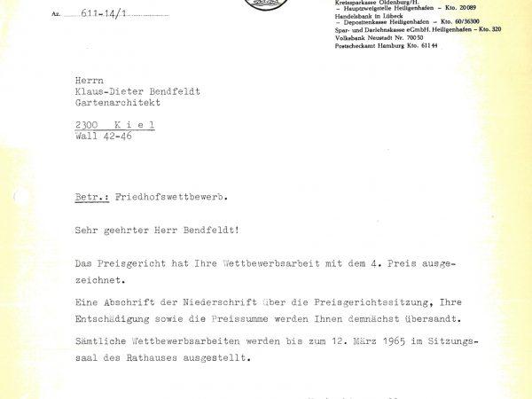 4. Preis Friedhof Heiligenhafen, 1965